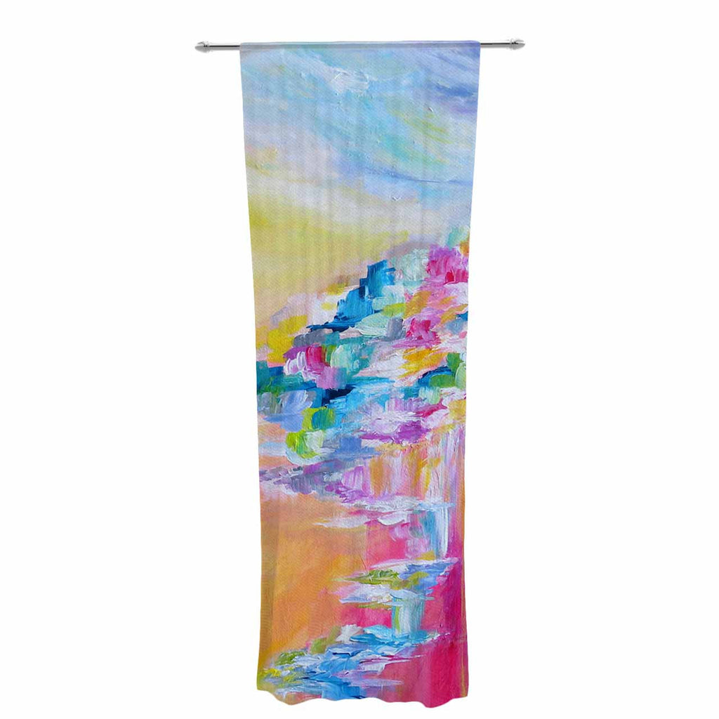 "Ebi Emporium ""Something About the Sea"" Yellow Multicolor Decorative Sheer Curtain - KESS InHouse  - 1"