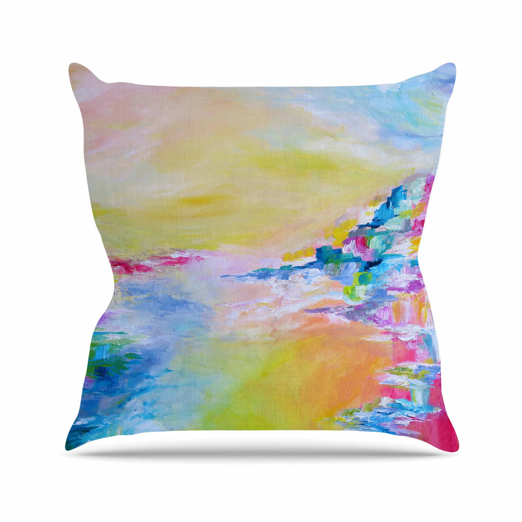 "Ebi Emporium ""Something About the Sea"" Yellow Multicolor Throw Pillow - KESS InHouse  - 1"