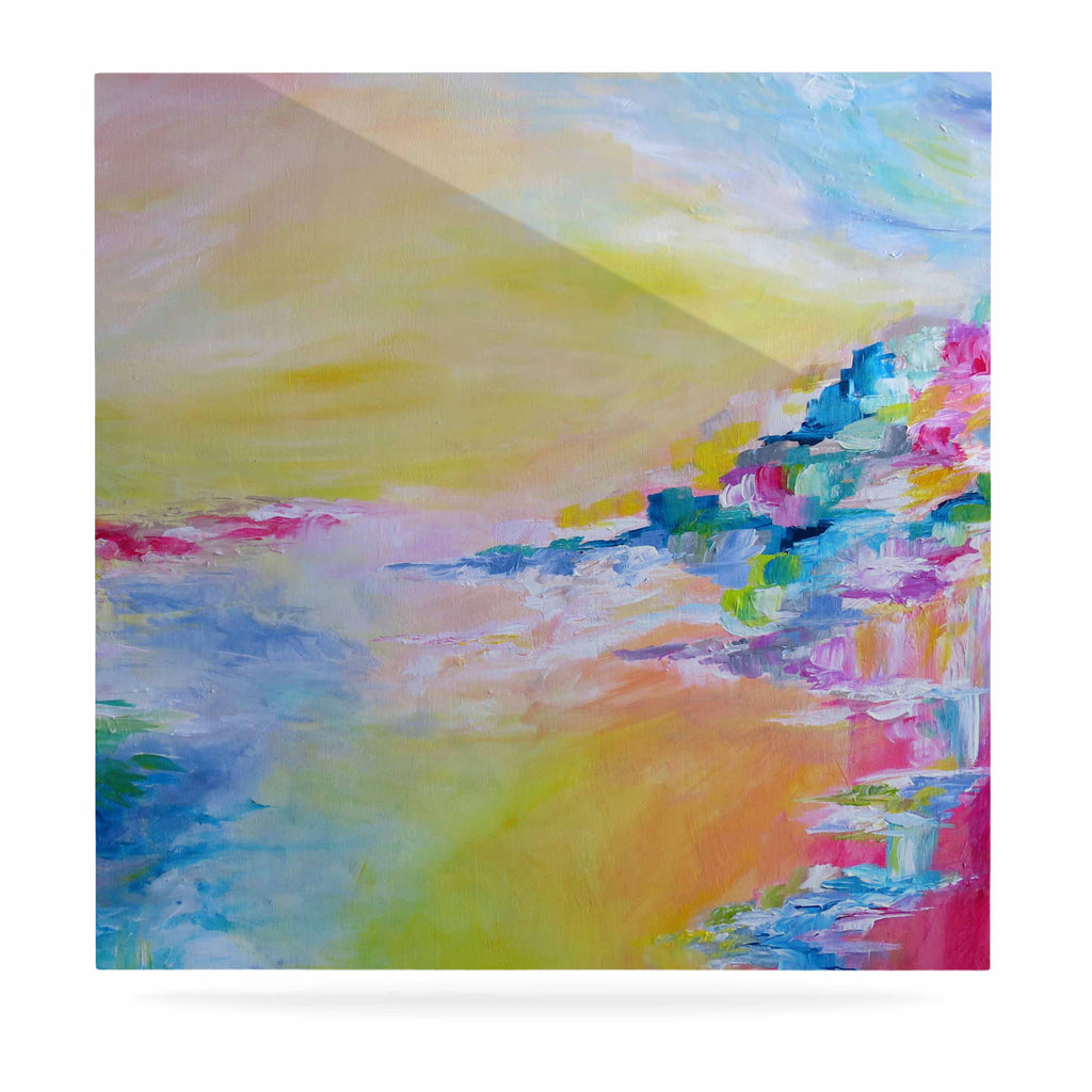 "Ebi Emporium ""Something About the Sea"" Yellow Multicolor Luxe Square Panel - KESS InHouse  - 1"
