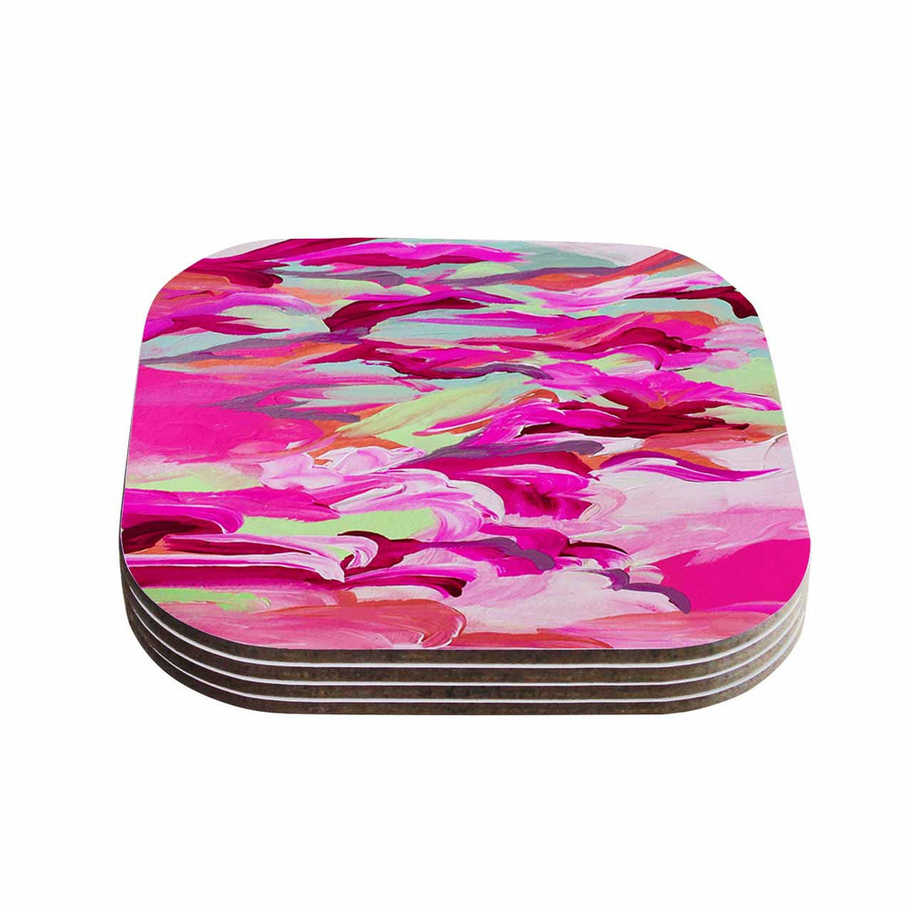 "Ebi Emporium ""Still Up In The Air 3"" Pink Magenta Coasters (Set of 4)"