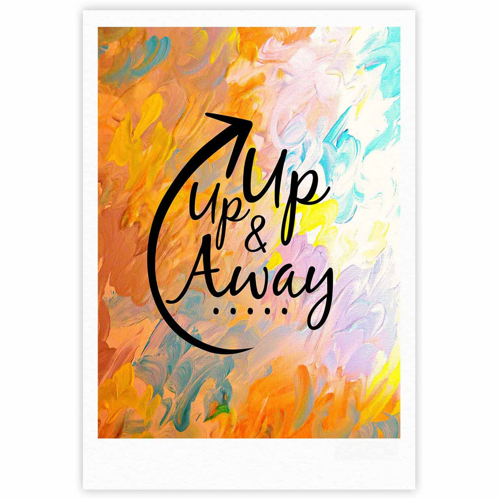 "Ebi Emporium ""Up Up & Away"" Orange Typography Fine Art Gallery Print - KESS InHouse"