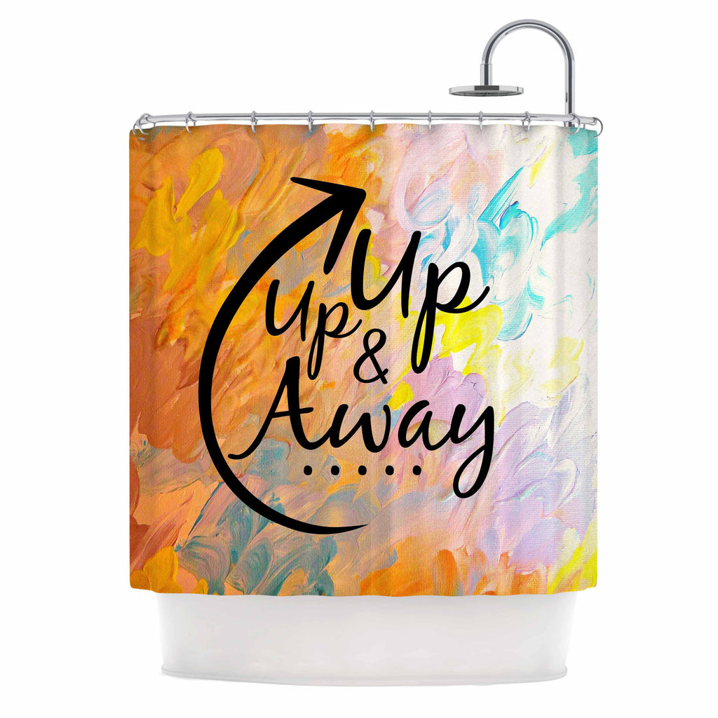 "Ebi Emporium ""Up Up & Away"" Orange Typography Shower Curtain - KESS InHouse"