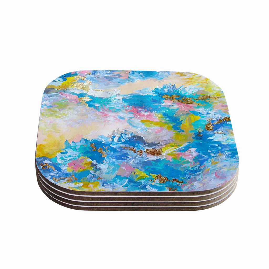"Ebi Emporium ""When We Were Mermaids"" Blue Yellow Coasters (Set of 4)"