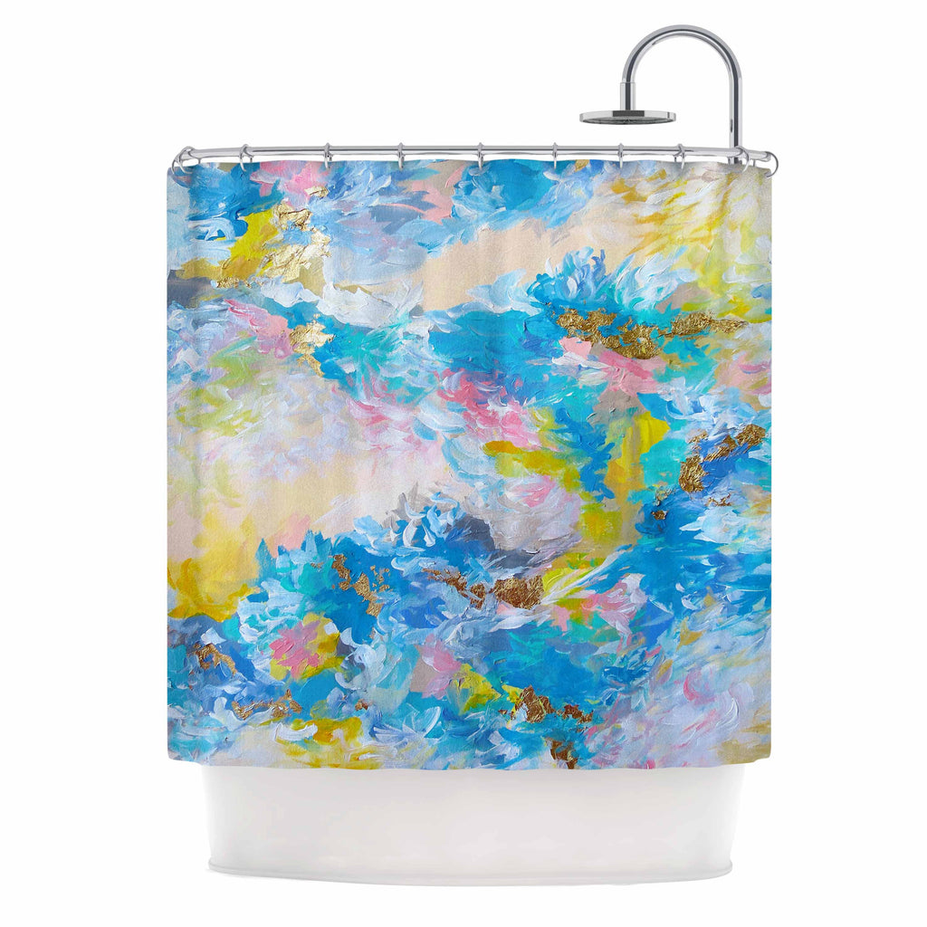 "Ebi Emporium ""When We Were Mermaids"" Blue Yellow Shower Curtain - KESS InHouse"