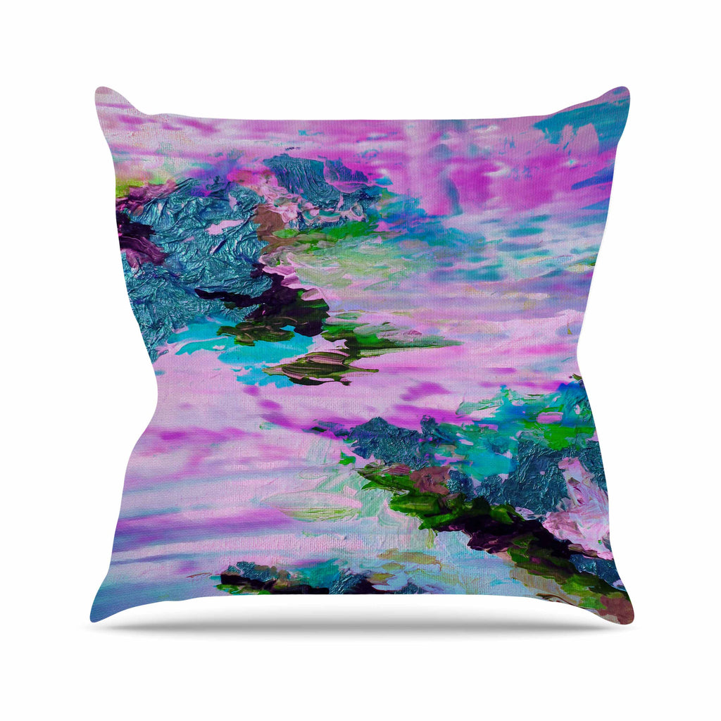"Ebi Emporium ""On Cloud Nine - 4"" Pink Teal Throw Pillow - KESS InHouse  - 1"