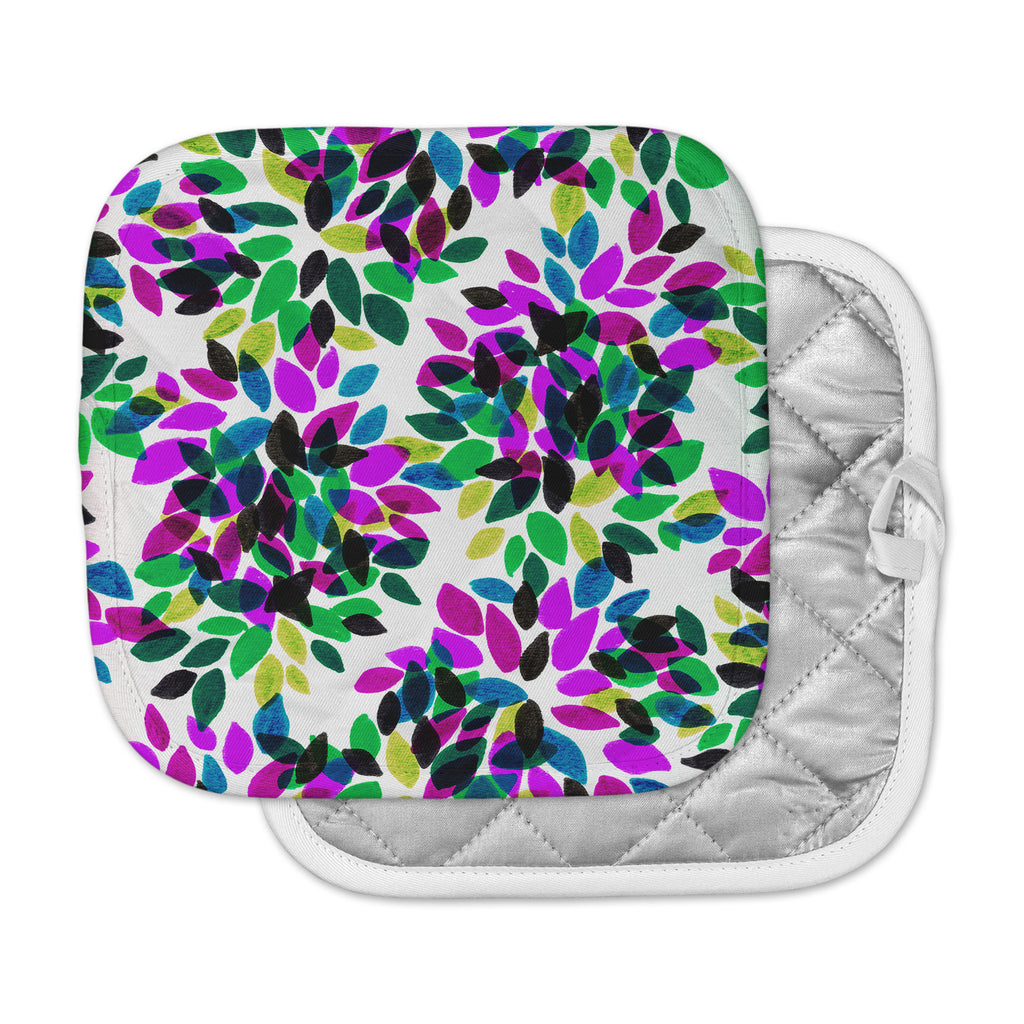 "Ebi Emporium ""Dahlia Dots 2"" Purple Green Pot Holder"