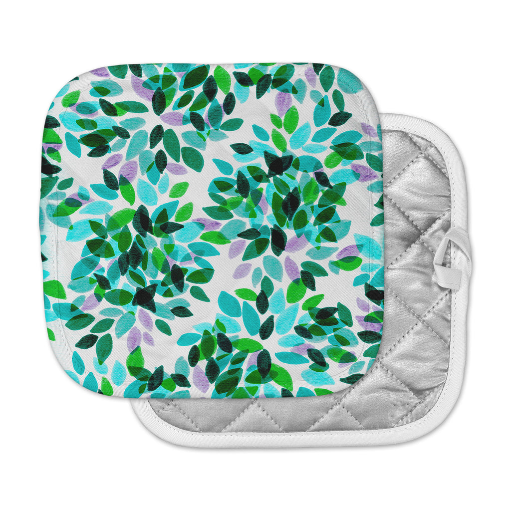 "Ebi Emporium ""Dahlia Dots 7"" Teal Green Pot Holder"