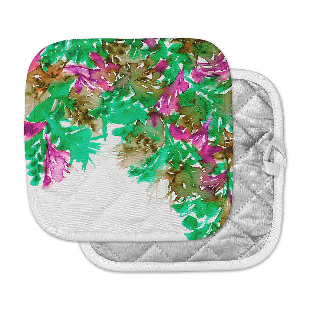 "Ebi Emporium ""Floral Cascade 6"" Pink Green Pot Holder"