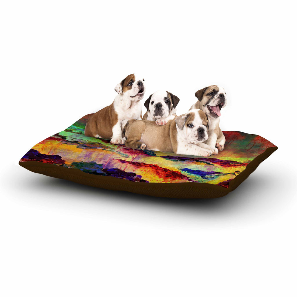 "Ebi Emporium ""It's A Rose Colored Life 4"" Yellow Red Dog Bed - KESS InHouse  - 1"