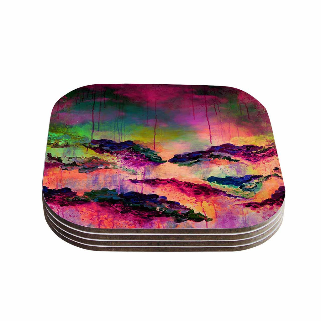 "Ebi Emporium ""It's A Rose Colored Life 3"" Magenta Orange Coasters (Set of 4)"