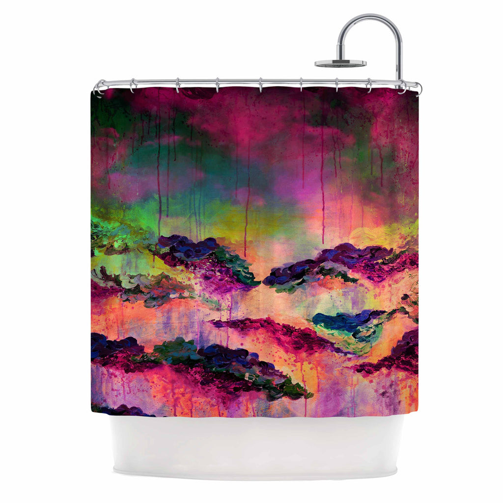 "Ebi Emporium ""It's A Rose Colored Life 3"" Magenta Orange Shower Curtain - KESS InHouse"
