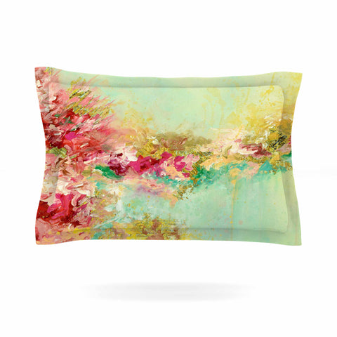 "Ebi Emporium ""When Land Met Sky 1"" Red Green Pillow Sham - Outlet Item"