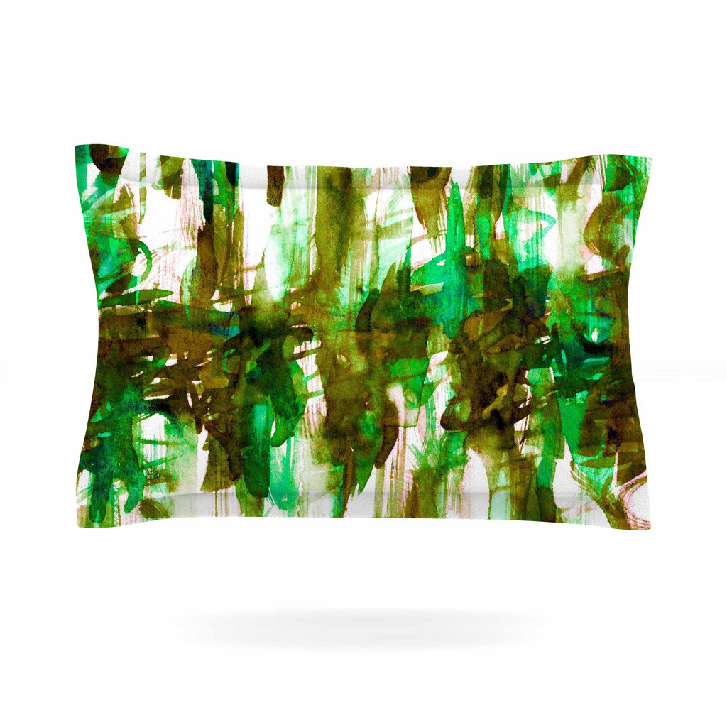 "Ebi Emporium ""White Noise 4"" Green Olive Pillow Sham - KESS InHouse  - 1"