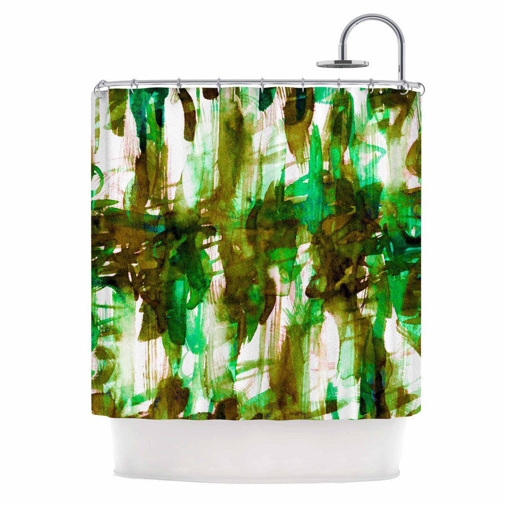 "Ebi Emporium ""White Noise 4"" Green Olive Shower Curtain - KESS InHouse"