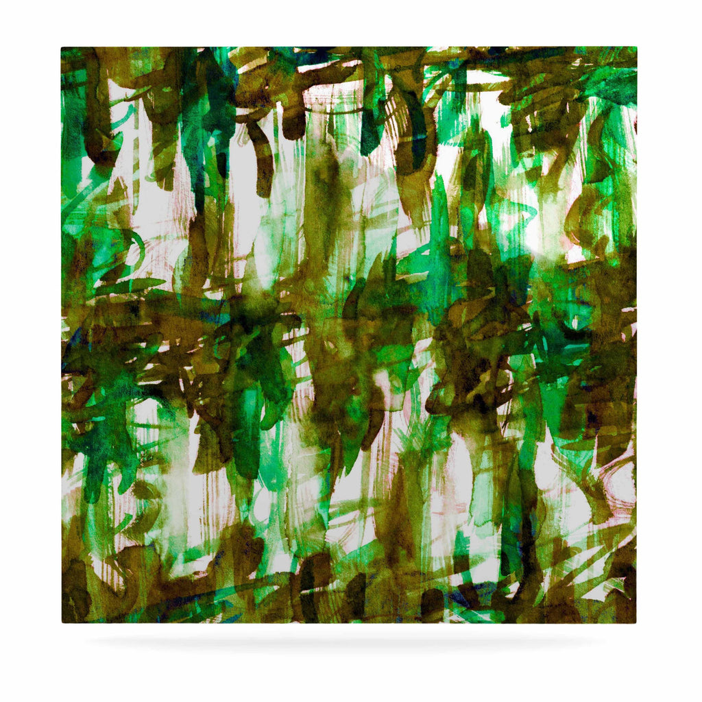 "Ebi Emporium ""White Noise 4"" Green Olive Luxe Square Panel - KESS InHouse  - 1"
