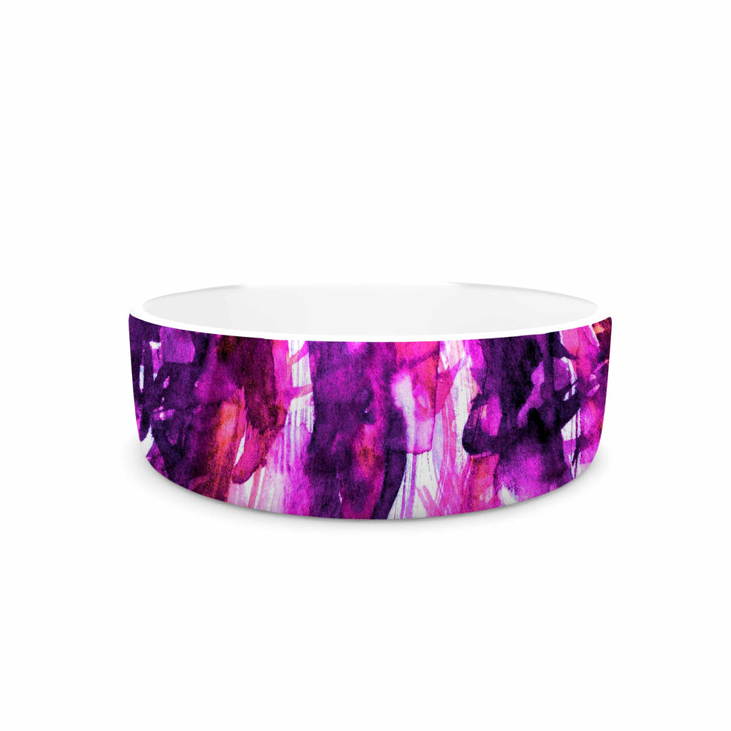 "Ebi Emporium ""White Noise 3"" Purple Magenta Pet Bowl - KESS InHouse"