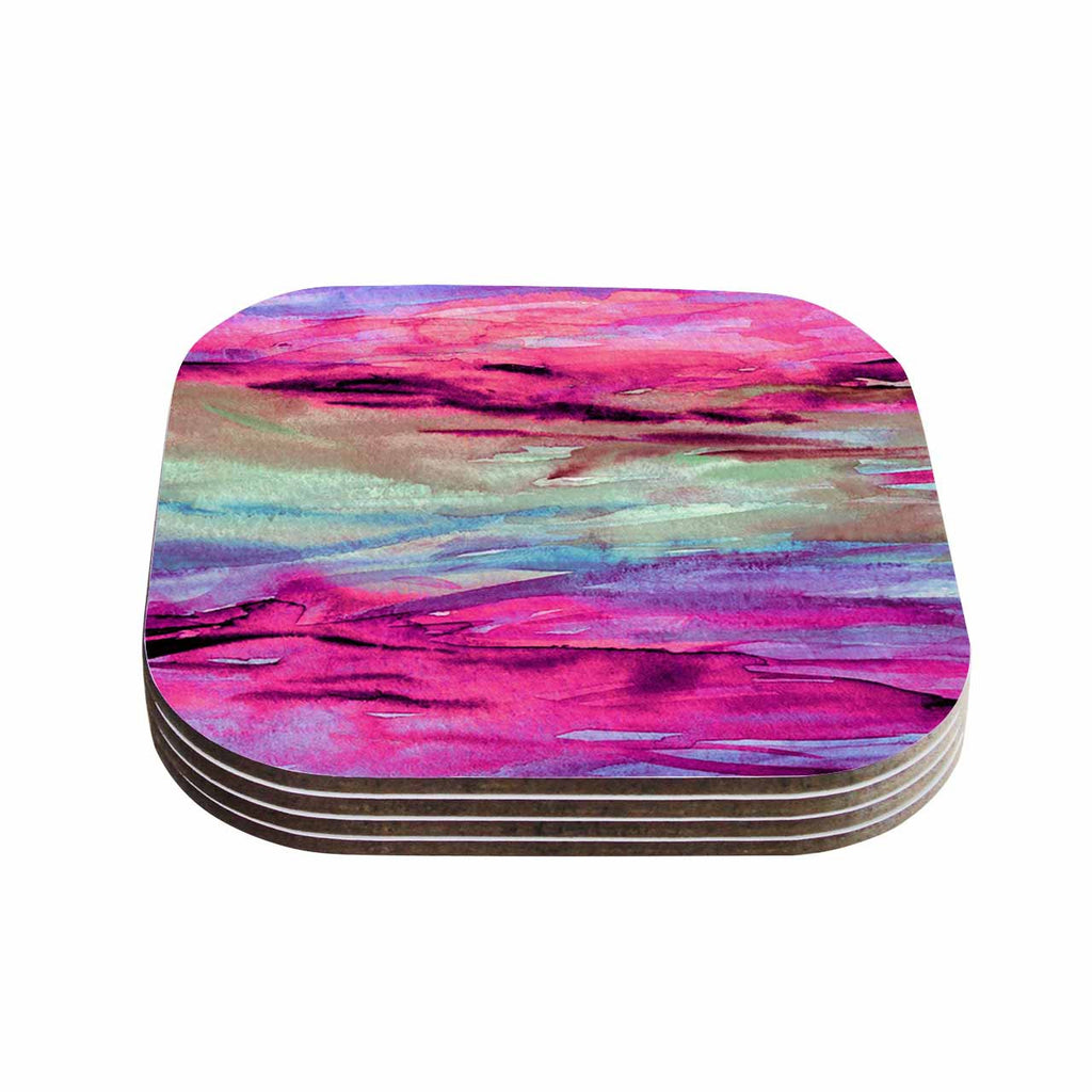 "Ebi Emporium ""Unanchored 4"" Pink Lavender Coasters (Set of 4)"