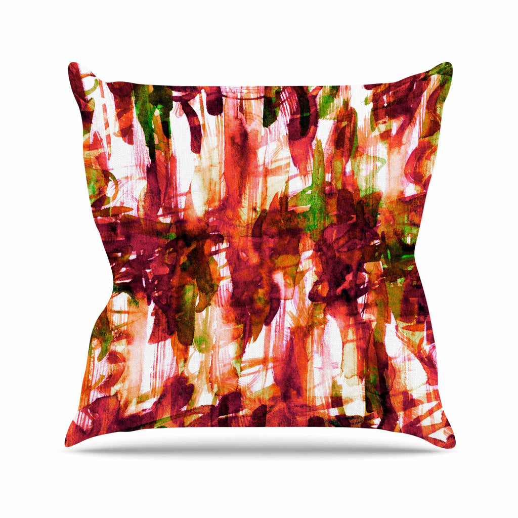 "Ebi Emporium ""White Noise 2"" Maroon Green Throw Pillow - KESS InHouse  - 1"