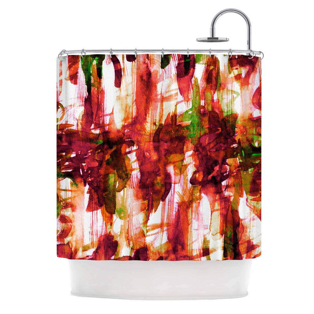 "Ebi Emporium ""White Noise 2"" Maroon Green Shower Curtain - KESS InHouse"