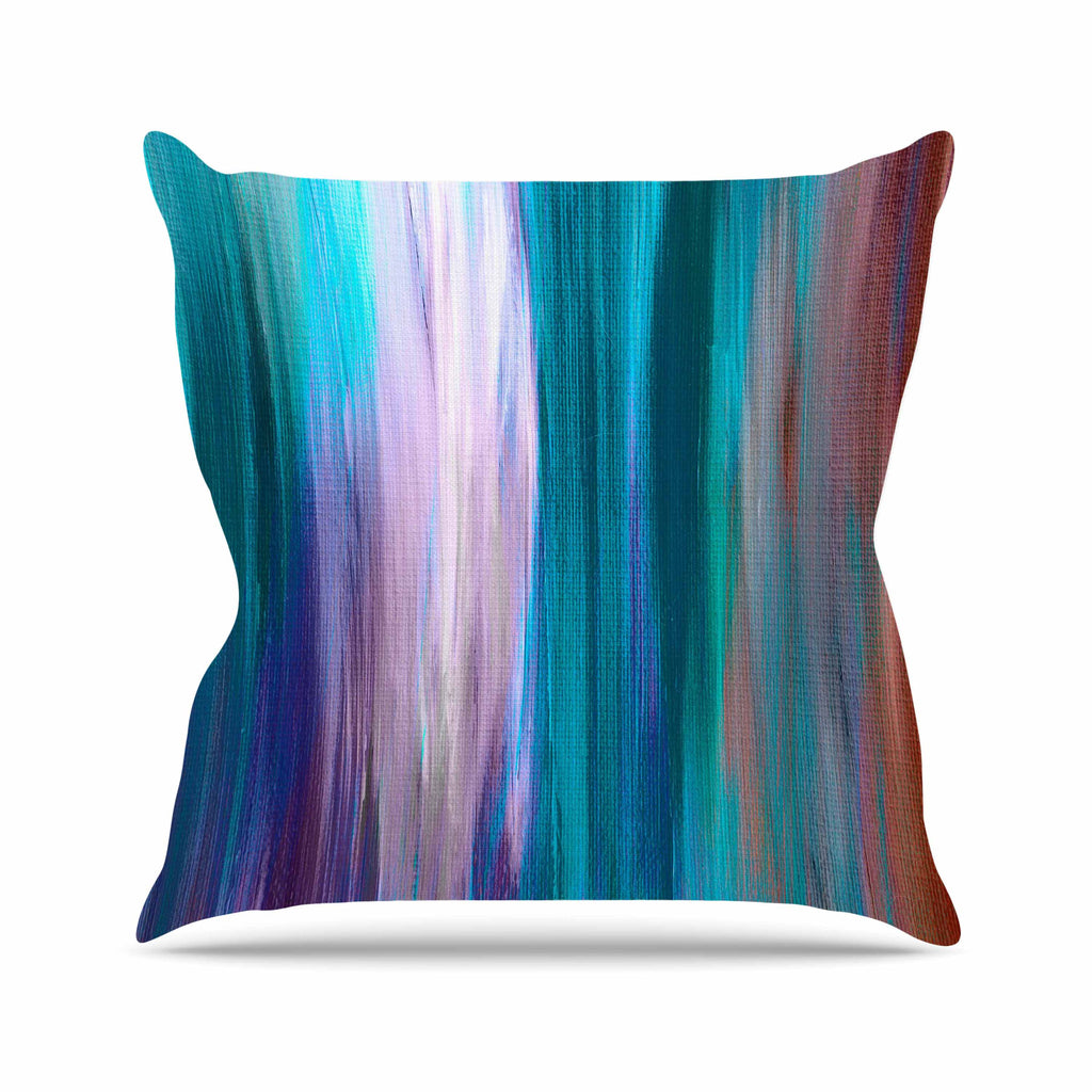 "Ebi Emporium ""Irradiated Multi 3"" Teal Lavender Outdoor Throw Pillow - KESS InHouse  - 1"
