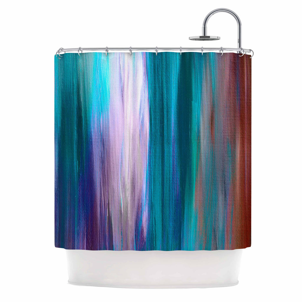 "Ebi Emporium ""Irradiated Multi 3"" Teal Lavender Shower Curtain - KESS InHouse"
