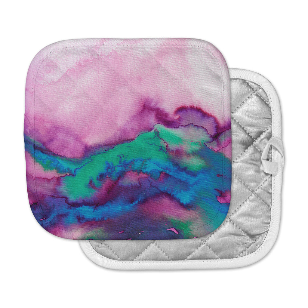 "Ebi Emporium ""Winter Waves 2"" Pink Watercolor Pot Holder"