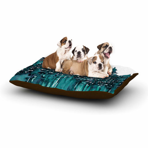 "Ebi Emporium ""Forest Through The Trees 5"" Teal White Dog Bed - Outlet Item"