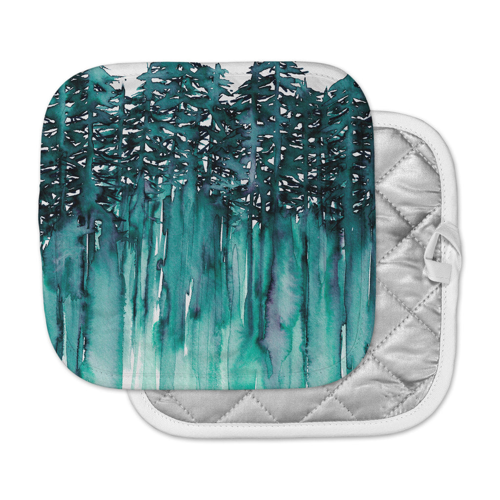 "Ebi Emporium ""Forest Through The Trees 5"" Teal White Pot Holder"