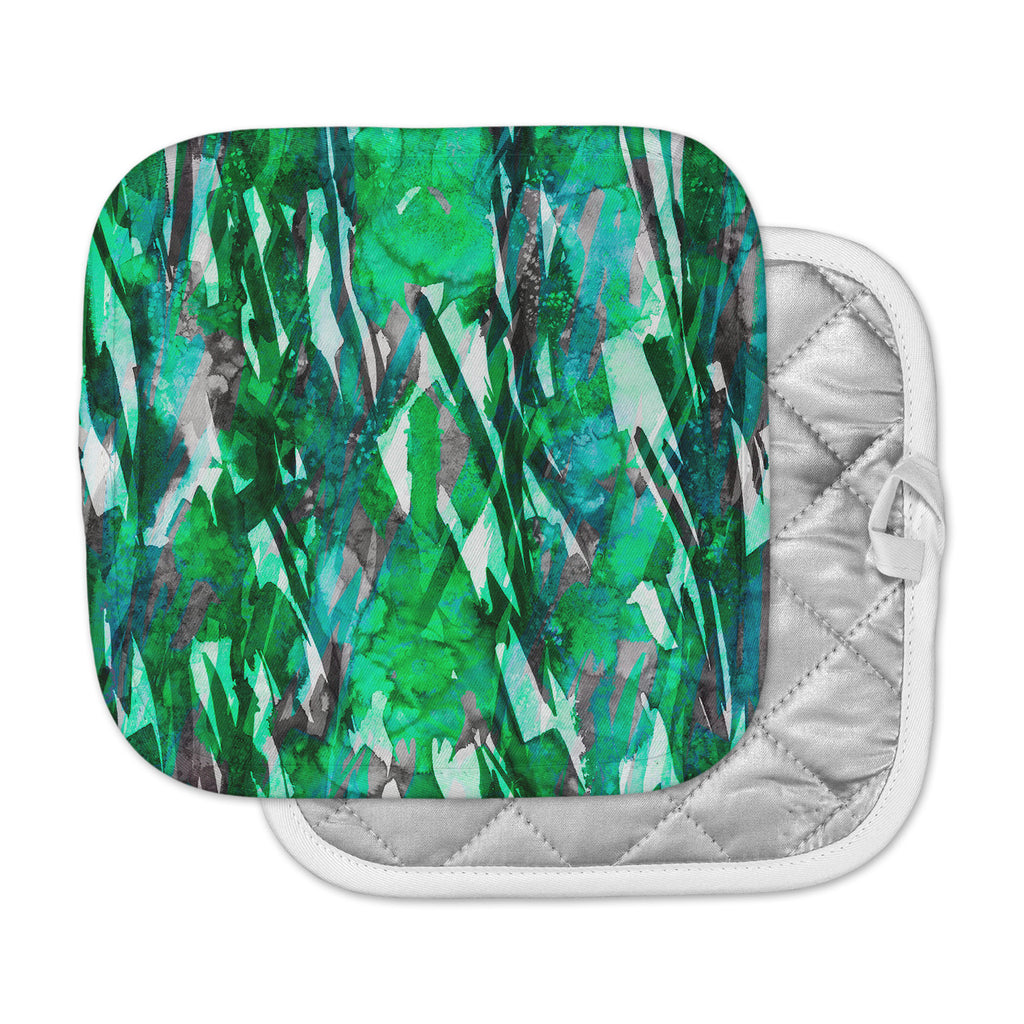 "Ebi Emporium ""Frosty Bouquet 7"" Green Abstract Pot Holder"