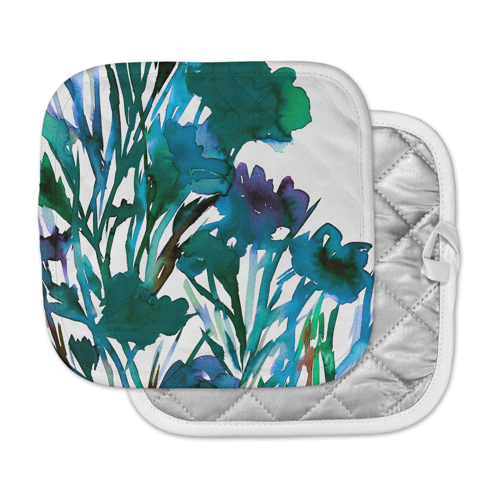 "Ebi Emporium ""Petal For Your Thoughts Teal"" Turquoise Green Pot Holder"