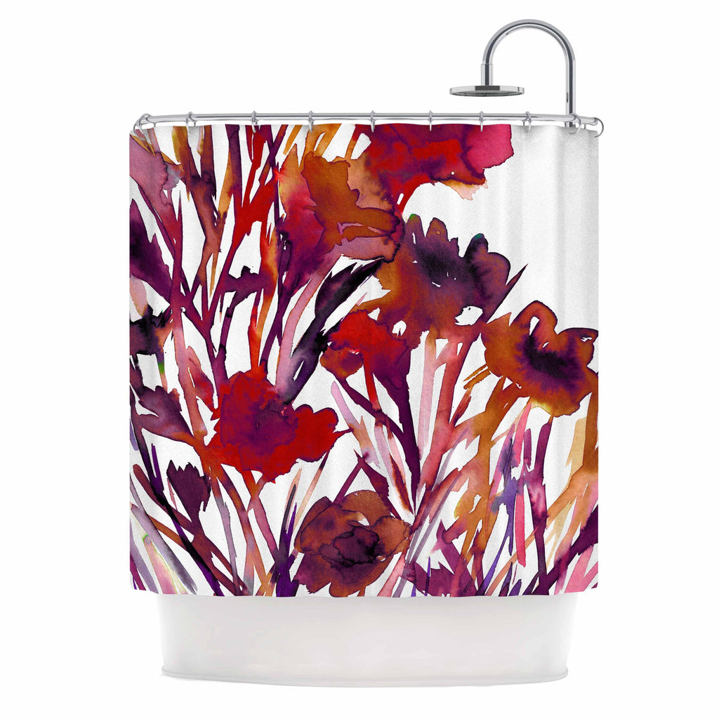 Pocket Full Of Posies Red Shower Curtain By Ebi Emporium