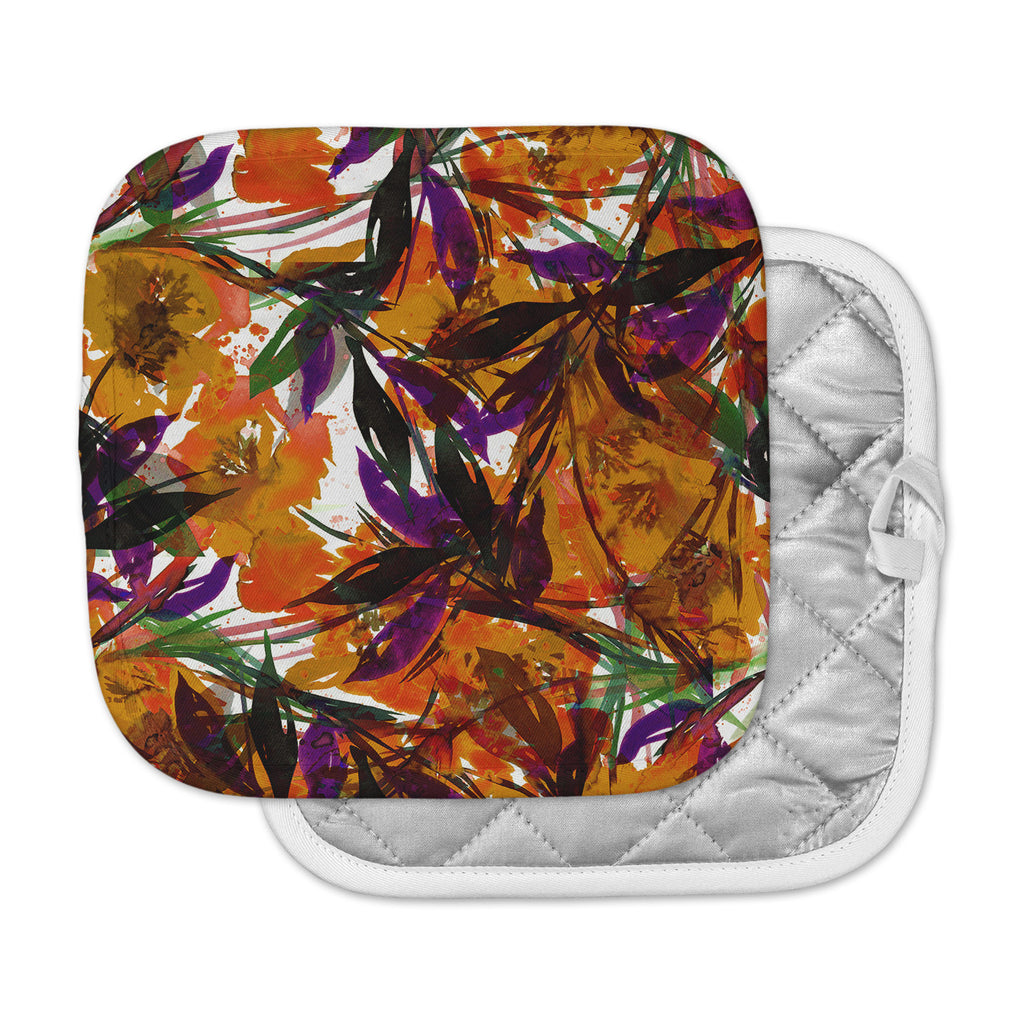 "Ebi Emporium ""Floral Fiesta - Orange"" Floral Painting Pot Holder"