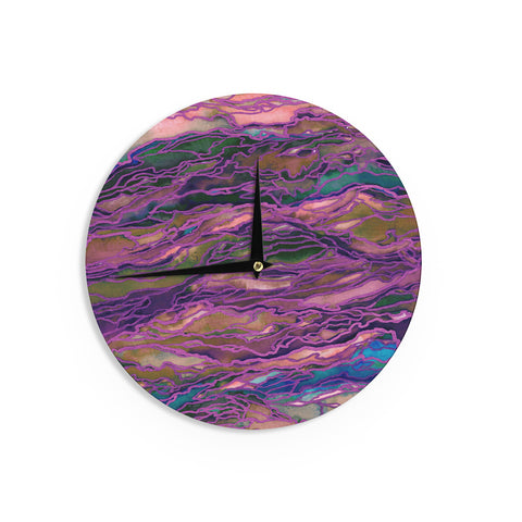 "Ebi Emporium ""Marble Idea! - Rich Jewel Tone"" Purple Pink Wall Clock - Outlet Item"