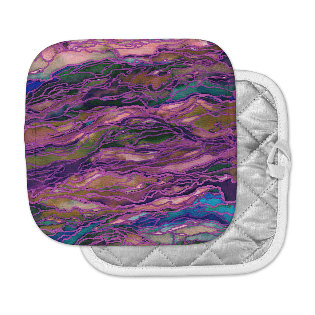 "Ebi Emporium ""Marble Idea! - Rich Jewel Tone"" Purple Pink Pot Holder"