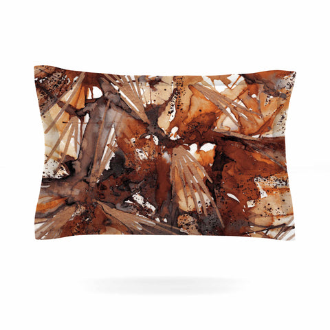 "Ebi Emporium ""Birds Of Prey - Rust Tan Brown"" Beige Watercolor Pillow Sham - Outlet Item"