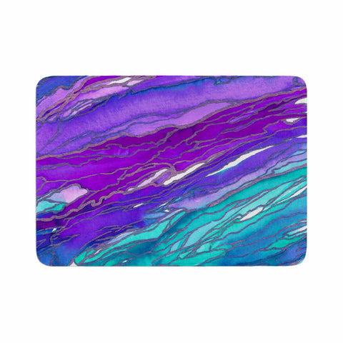 "Ebi Emporium ""Agate Magic - Purple Blue"" Aqua Lavender Memory Foam Bath Mat - Outlet Item"