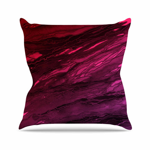 "Ebi Emporium ""Agate Magic - Red Pink Plum"" Deep Purple Outdoor Throw Pillow - Outlet Item"