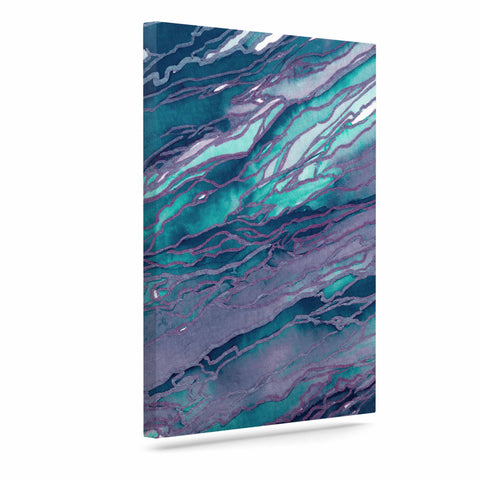 "Ebi Emporium ""Agate Magic - Lilac Teal"" Blue Lavender Canvas Art - Outlet Item"