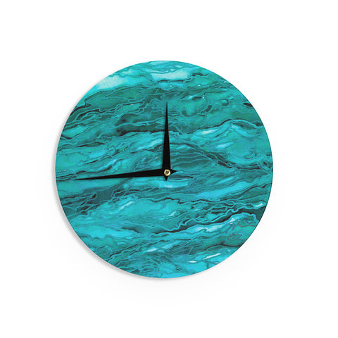 "Ebi Emporium ""Marble Idea! - Light Teal Aqua"" Aqua Blue Wall Clock - Outlet Item"