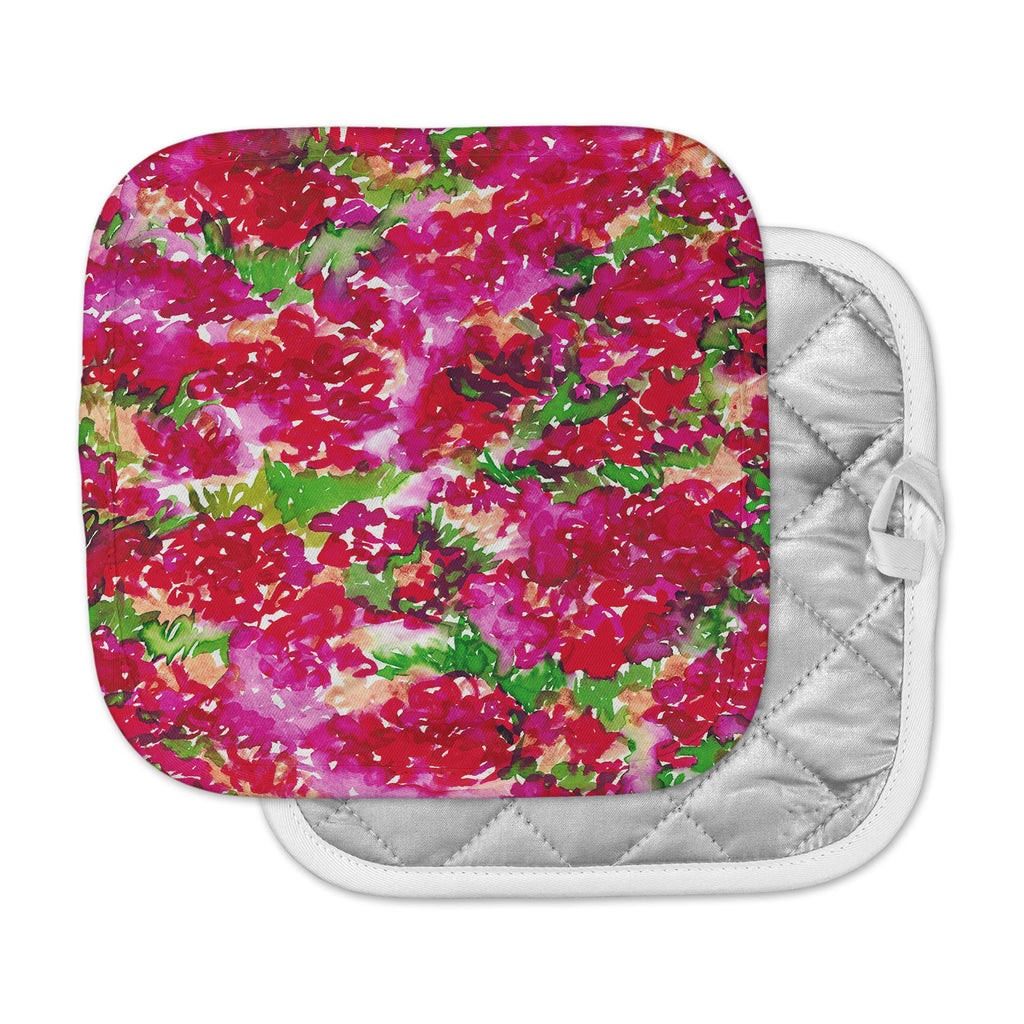 "Ebi Emporium ""Floral Assumption, Red Pink"" Green Pink Pot Holder"