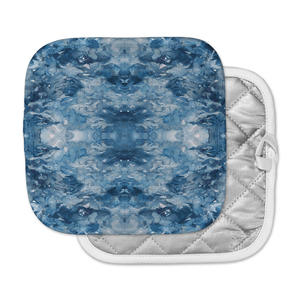 "Ebi Emporium ""Tie Dye Helix, Blue"" Blue White Pot Holder"