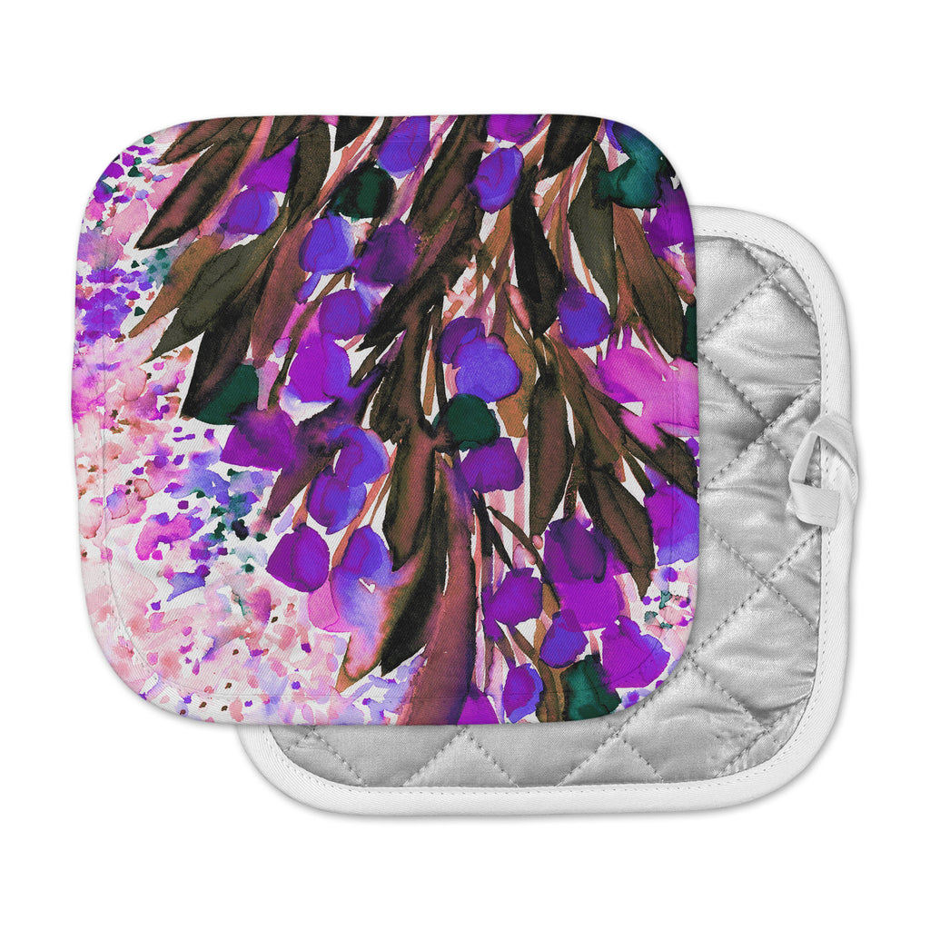 "Ebi Emporium ""Botanical Regency, Purple"" Pink Black Pot Holder"