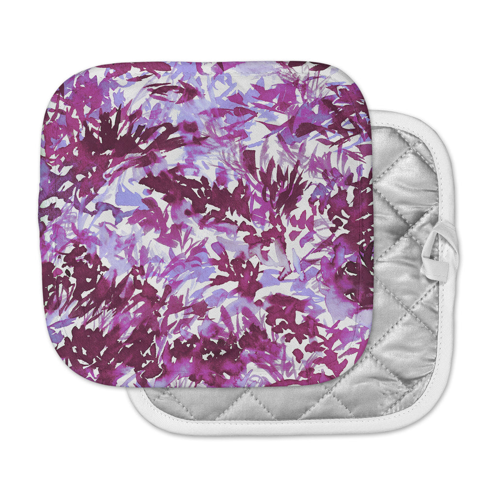 "Ebi Emporium ""In The Meadow 3 - Plum Purple "" White Lavender Pot Holder"