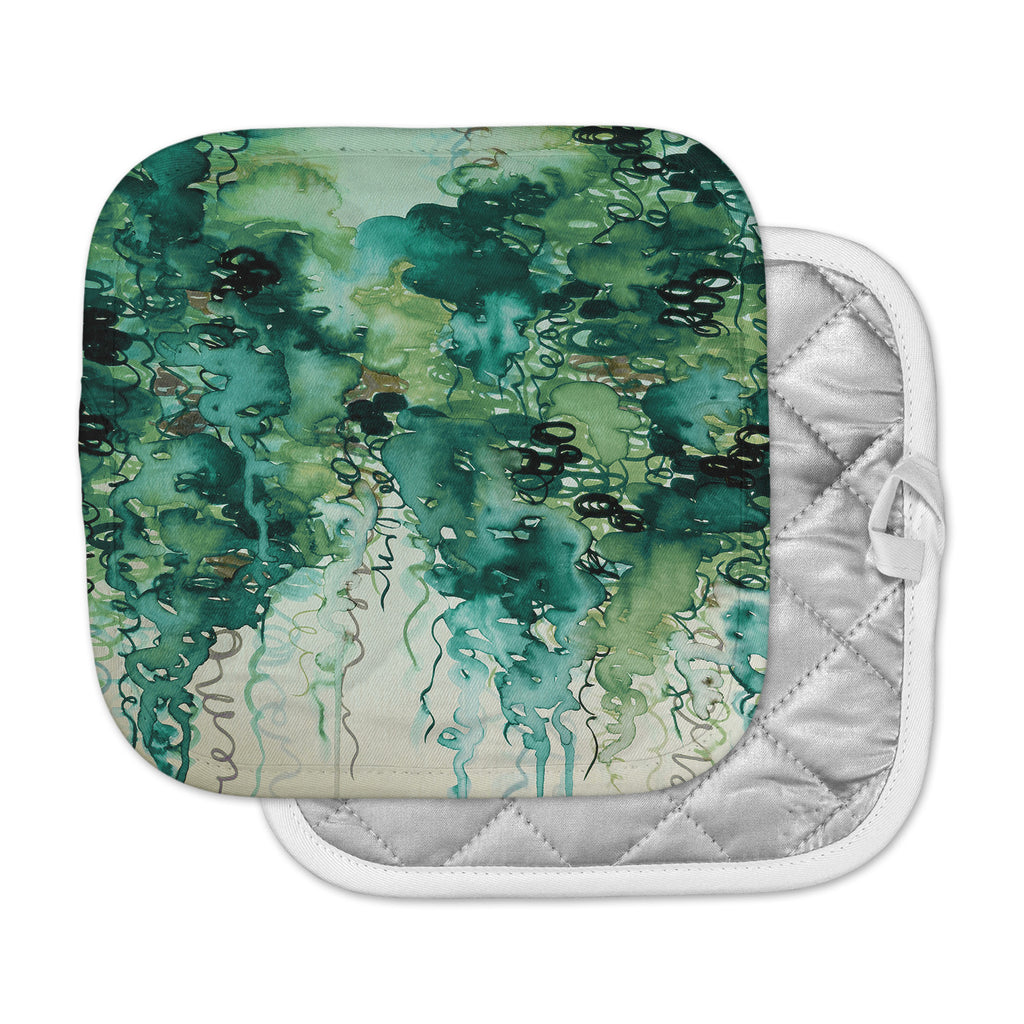"Ebi Emporium ""Beauty In The Rain, Green"" Emerald Green Pot Holder"