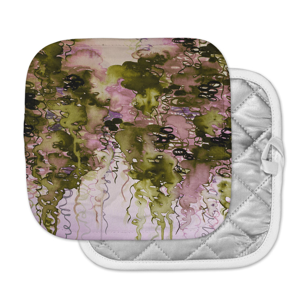 "Ebi Emporium ""Beauty In The Rain, Olive Pink"" Green Lavender Pot Holder"
