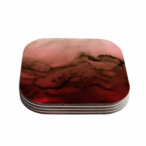 "Ebi Emporium ""Winter Waves Red Black"" Red Black Painting Coasters (Set of 4) - Outlet Item"
