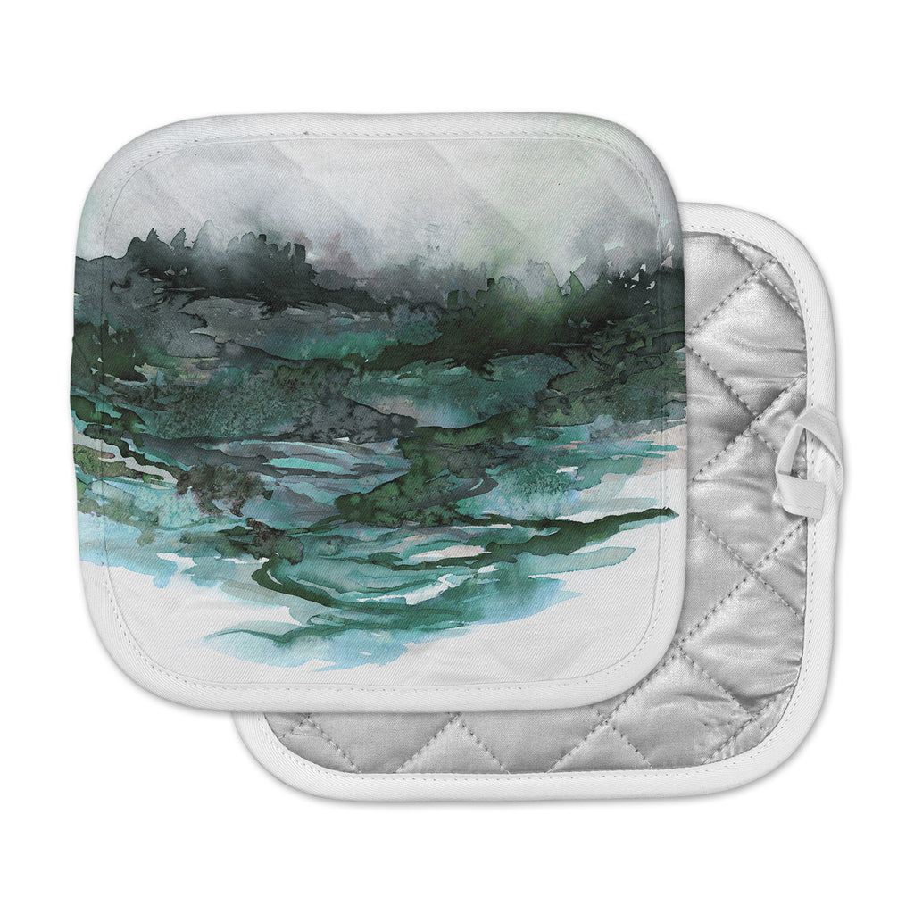 "Ebi Emporium ""The Long Road 2"" Teal Green Watercolor Pot Holder"