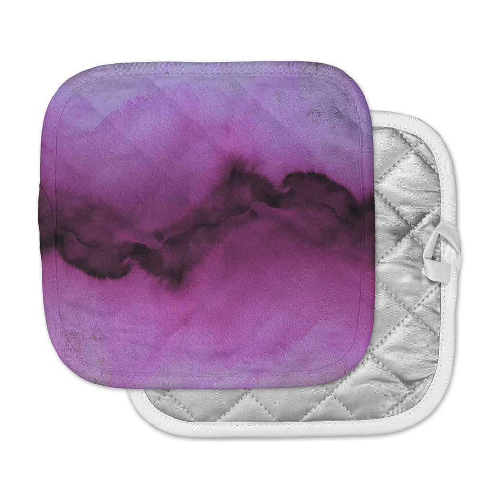 "Ebi Emporium ""The Vibe, Plum Purple"" Purple Gray Watercolor Pot Holder"