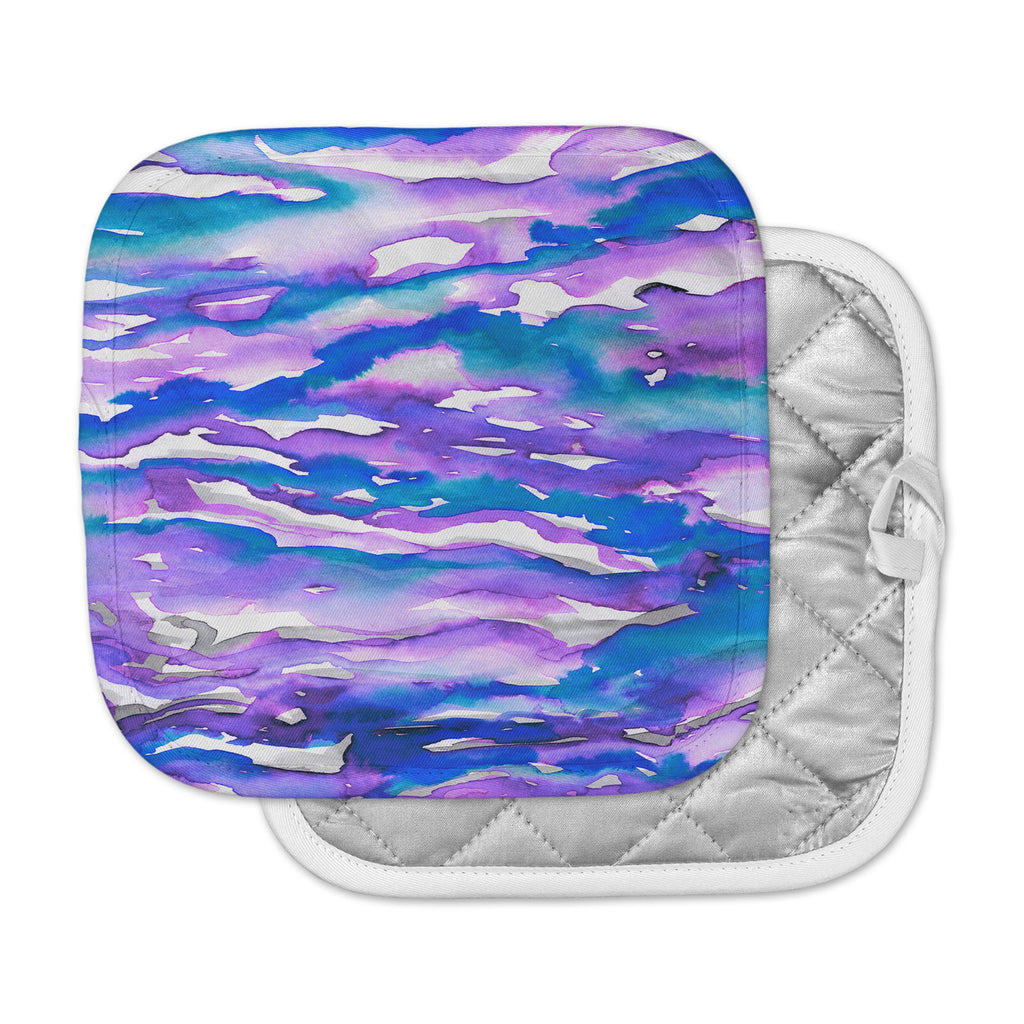 "Ebi Emporium ""Flutter, Blue Purple"" Blue Purple Watercolor Pot Holder"