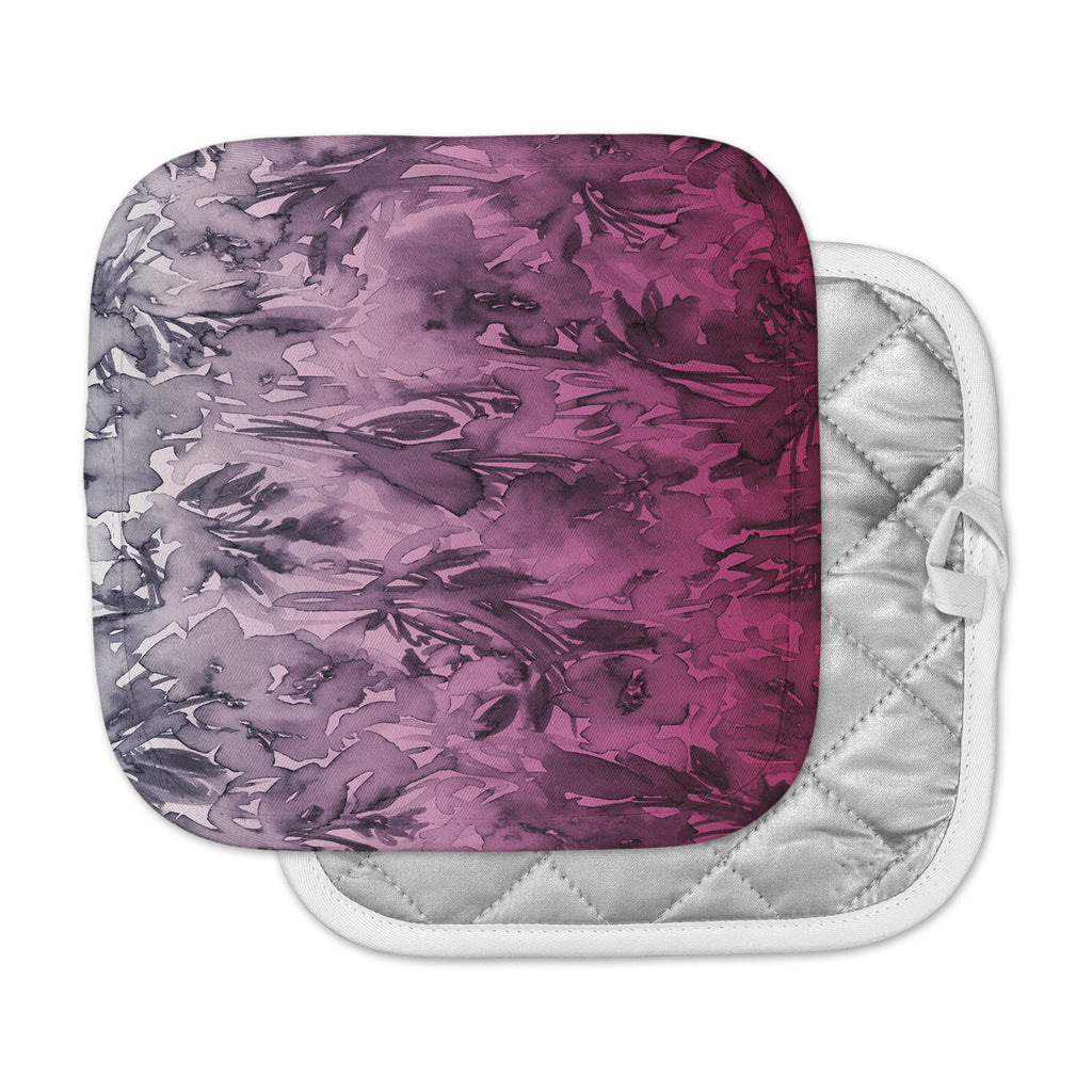 "Ebi Emporium ""Forever Flowers, Pink Ombre"" Pink Gray Watercolor Pot Holder"